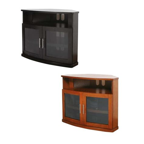 Corner Tv Cabinets With Glass Doors Plateau Newport Series Corner Wood Tv Cabinet With Glass Doors For 26 42 Inch Screens Black Or