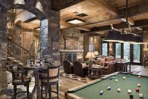 rustic man cave with natural stone wall amp exposed beam