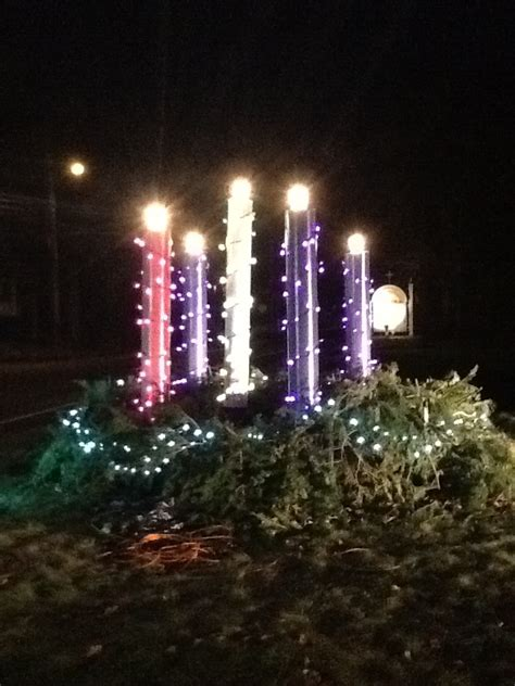 lighting the advent wreath this 7 foot high outdoor advent wreath was built on the
