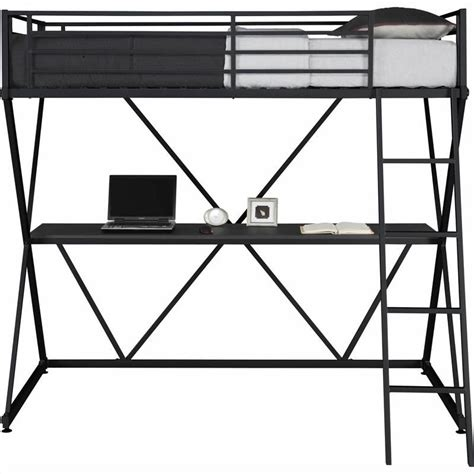 twin metal loft bed with desk x shaped metal twin loft bed in black with desk 5440096