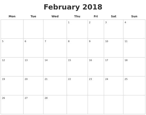 printable calendar pages 2018 february 2018 blank calendar pages