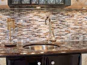 Glass Tile Kitchen Backsplash Designs Neutral Mosaic Tile Backsplash And Stainless Steel Sink Hgtv