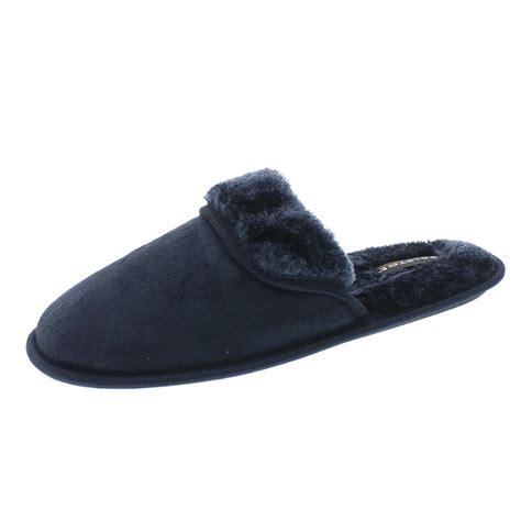 Gold Toe Men S Fur Lined Memory Foam House Shoe Slippers New Ebay