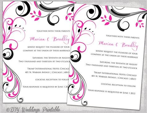 digital invitations free templates wedding invitation templates black and pink quot scroll