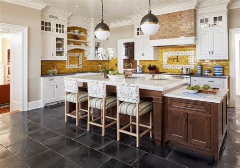 looking raised kitchen island farmhouse with globe