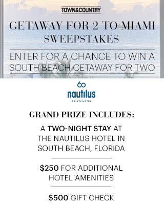 Town And Country Magazine Sweepstakes - town country s getaway for 2 to miami sweepstakes