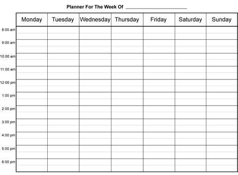 weekly calendar by hour weekly calendar template