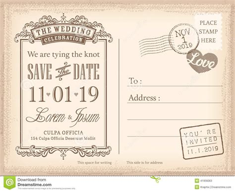 vintage postcard save the date background for wedding