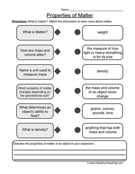 Matter Worksheets by Matter Worksheets Teaching