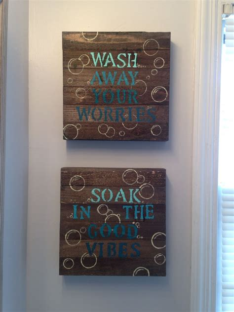 bathroom wall decor ideas blue diy bathroom wall decor 10 wood canvas from walmart