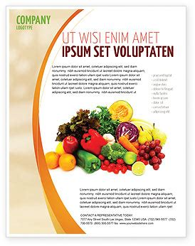 Fruits And Vegetables Flyer Template Background In Microsoft Word Publisher And Illustrator Free Agriculture Flyer Templates