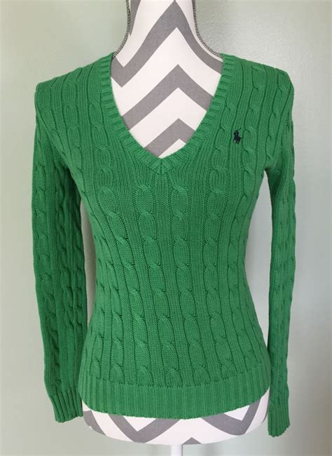 ralph sport cable knit sweater ralph sport womens v neck classic green cable knit