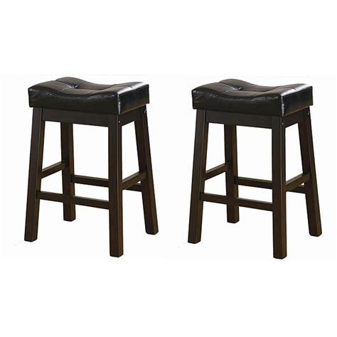 24 Inch Saddle Bar Stools by Black 24 Inch Bicast Leather Counter Height Saddle Bar Stools Set Of 2 13064864 Overstock