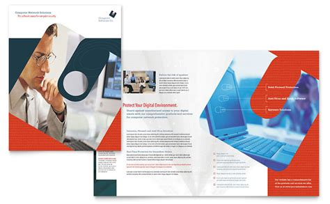 computer software company brochure template design