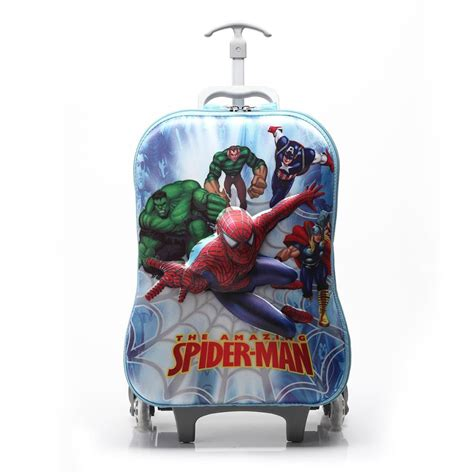 Tas Travel Trolly Bag 3d children 3d spider luggage cabin trolley suitcase