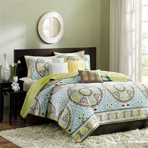 microfiber comforter green teal brown yellow bedspread