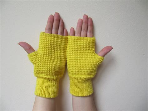 Handmade Gloves - knitted yellow fingerless gloves handmade wool