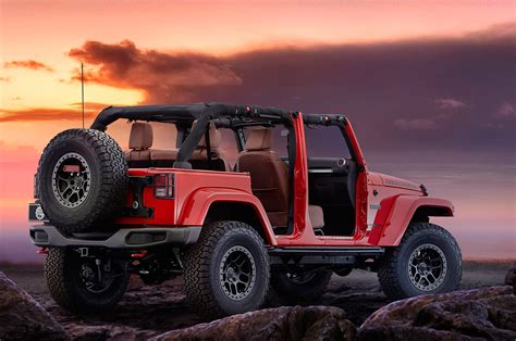 red jeep 2016 jeep wrangler red rock debuts at sema entering limited