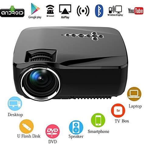 Proyektor Wifi android wifi led projector portable multimedia 1200 lumens home theater cinema ps xbox mini