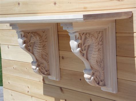 wood brackets for shelves wall shelf wood wooden seahorse corbels by thewoodgraingallery