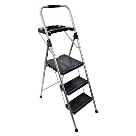 3 step steel step stool shop werner 3 step 225 lb gray steel step stool at lowes