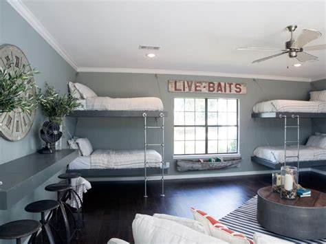 chip and joanna gaines house boat kids bunk bed and bunkroom design ideas garage doors