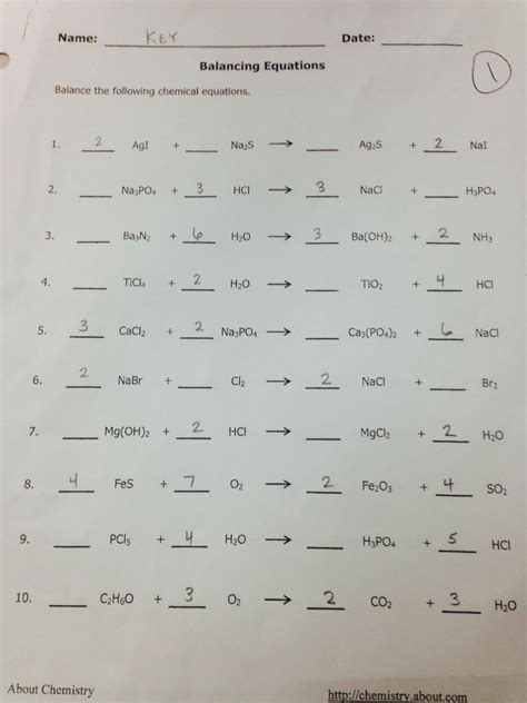 Balancing Equations Worksheet Answers by Balancing Equations Worksheet Answers Chemistry If8767