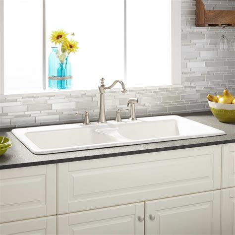 Sink White 43 quot selkirk white bowl cast iron drop in kitchen