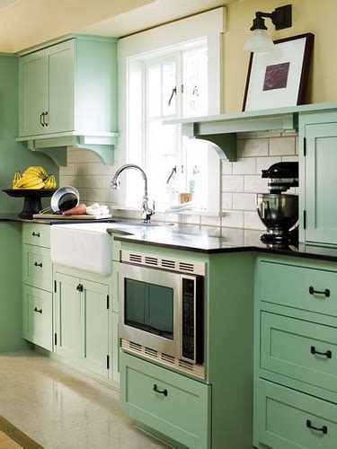 Seafoam Green Kitchen colorful painted kitchen cabinets homchick stoneworks inc