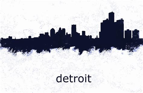 Detroit Skyline Drawing detroit michigan skyline d drawing by enki