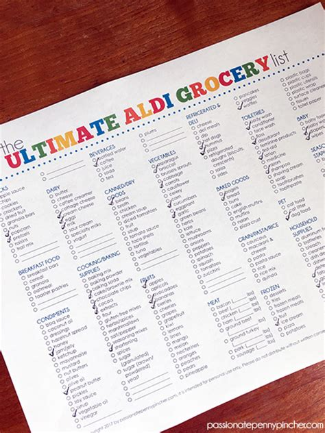 heb printable grocery list the ultimate aldi grocery list passionate penny pincher