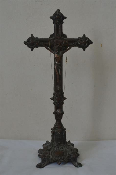 antique religious altar table crucifix in brass statues