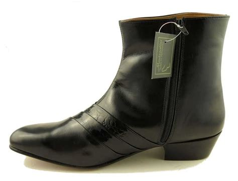 mens montecatini cuban heels black leather boots with zip