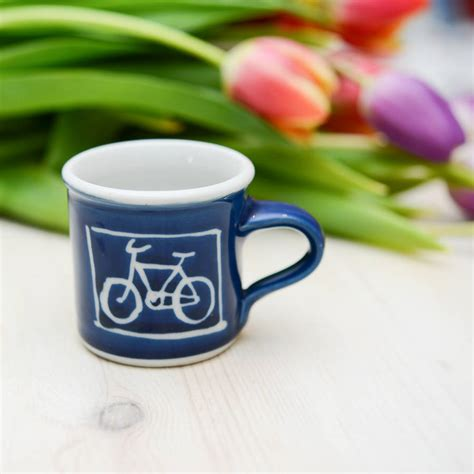 Handmade Espresso Cups - handmade bicycle espresso cup by terry pottery