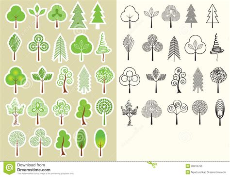 Trees Vector Collection Of Design Elements Isolate Stock Vector Illustration Of Foliage Tree Collection Of Design Elements Stock Vector Illustration Of Icon Botany 32428346