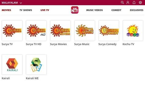malayalam live tv channels available through sun nxt