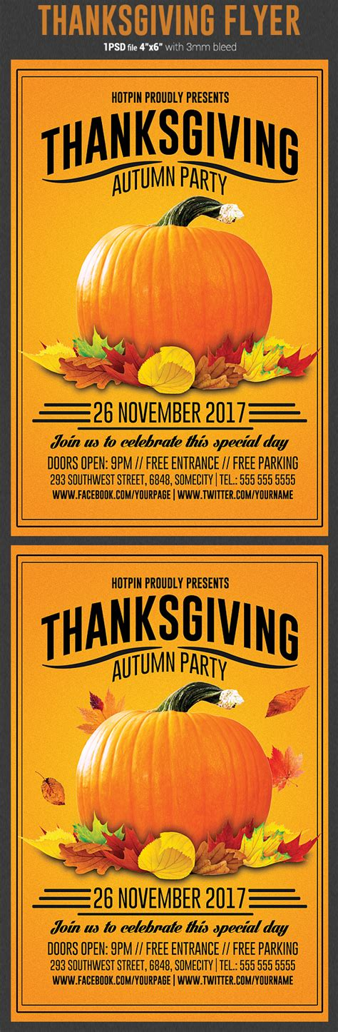 thanksgiving flyer template flyerstemplates
