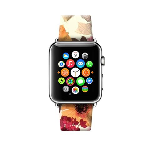 Printed Leather Band For Apple 38mm Flower Rural colorful flowers printed on leather band for apple series 2 38 42 mm ebay