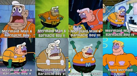 mermaid man over the years by kingbilly97 on deviantart
