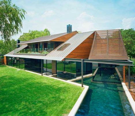Modern Lake House | dramatic angular modern office in luxury lake house