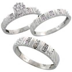 Gold diamond trio engagement wedding ring set for him and her 3 piece