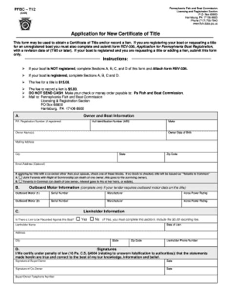 pa boat registration search pennsylvania title application form bing images