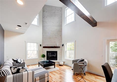 cornice board Living Room Transitional with barn board exposed beams exposed wood beams