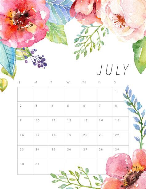calendar design july free printable 2017 floral calendar the cottage market