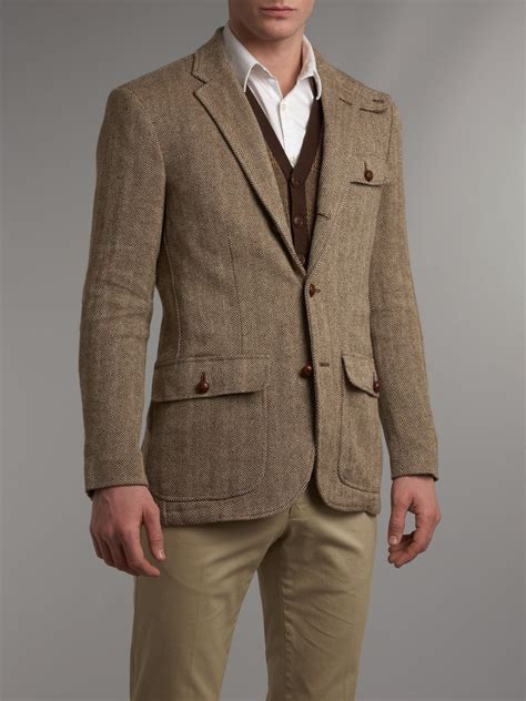 Ink Black Grey Polos Jacket Jaket Parasut Jaket Elegan lyst polo ralph tweed blazer in brown for