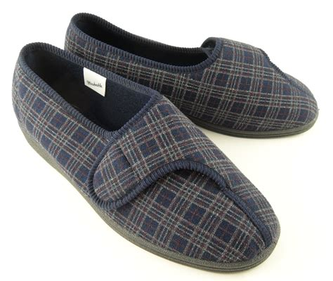 washable mens slippers mens sleepers x wide fit velcro machine washable slippers