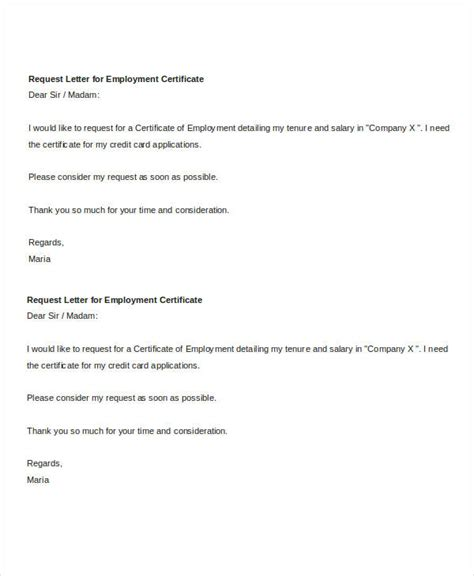 request letter for employment certificate simple letter templates 47 free word pdf documents