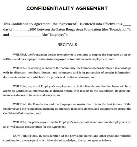 sample legal confidentiality agreement template   documents   word