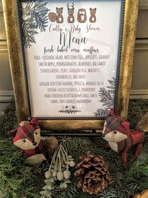 baby shower menu for winter wintery woodland animal baby shower menu baby shower