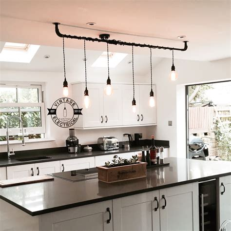 Retro Kitchen Lighting The Burnham 6 X Pendant Drop Light Hanging Lights Ceiling Dining Room Retro Kitchen Table E27